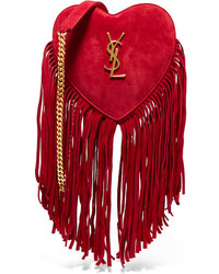 Sac bandoulière en daim à franges rouge Saint Laurent