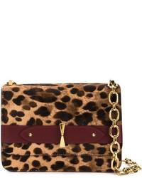 Sac bandoulière en daim imprimé léopard brun Alexander McQueen