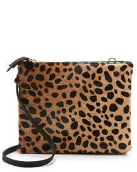 Sac bandoulière en daim imprimé léopard marron clair