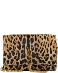 Sac bandoulière en daim imprimé léopard marron