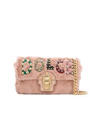 Sac bandoulière en fourrure rose Dolce & Gabbana