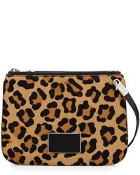 Sac bandoulière en poils de veau imprimé léopard noir et marron clair