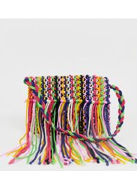 Sac bandoulière en toile à franges multicolore Glamorous