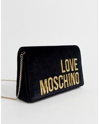 Sac bandoulière en velours noir Love Moschino