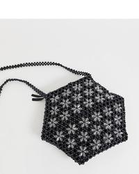 Sac bandoulière orné de perles à fleurs noir Glamorous