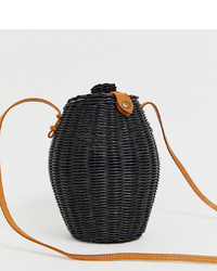 Sac bourse de paille noir Ellen & James