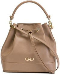 Sac bourse en cuir marron clair Salvatore Ferragamo