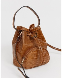 Sac bourse en cuir marron ASOS DESIGN
