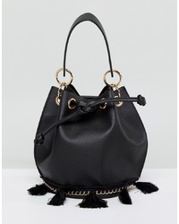 Sac bourse en cuir noir French Connection