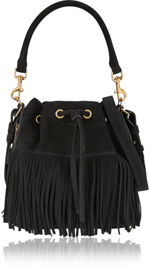 Daim Noir Sac Bourse Saint À Laurent En Franges HY29IDWE