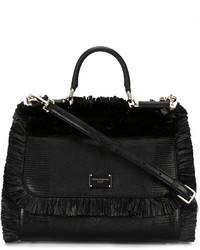 Sac fourre-tout de paille noir Dolce & Gabbana