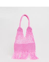 Sac fourre-tout en crochet rose Glamorous