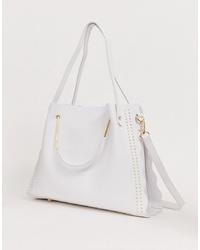 Sac fourre-tout en cuir blanc Yoki Fashion