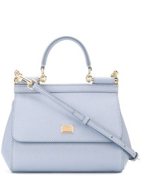 Sac fourre-tout en cuir bleu clair Dolce & Gabbana