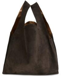 Sac fourre-tout en cuir brun foncé MM6 MAISON MARGIELA