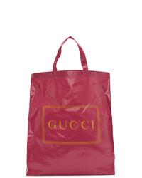 Sac fourre-tout en cuir fuchsia Gucci