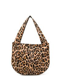 Sac fourre-tout en cuir imprimé léopard marron clair P.A.R.O.S.H.