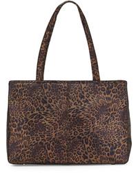 Sac fourre-tout en cuir imprimé léopard marron foncé