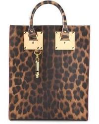 Sac fourre-tout en cuir imprimé léopard marron