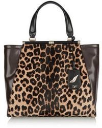 Sac fourre-tout en cuir imprimé léopard marron Diane von Furstenberg