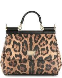 Sac fourre-tout en cuir imprimé léopard marron Dolce & Gabbana