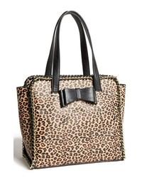 Sac fourre-tout en cuir imprimé léopard noir et marron clair