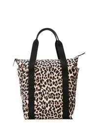 Sac fourre-tout en cuir imprimé léopard noir et marron clair Kate Spade