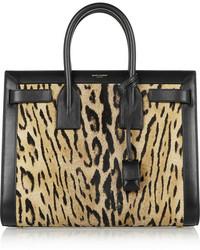 Sac fourre-tout en cuir imprimé léopard noir Saint Laurent