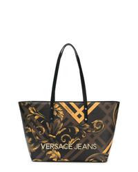 Sac fourre-tout en cuir imprimé marron foncé Versace Jeans