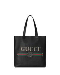 Sac fourre-tout en cuir imprimé noir Gucci