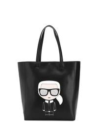 Sac fourre-tout en cuir imprimé noir Karl Lagerfeld