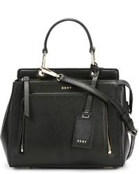 Sac fourre-tout en cuir noir DKNY