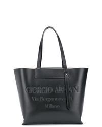 Sac fourre-tout en cuir noir Giorgio Armani