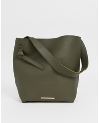Sac fourre-tout en cuir olive French Connection