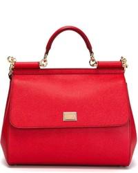 Sac fourre-tout en cuir rouge Dolce & Gabbana