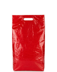 Sac fourre-tout en cuir rouge Helmut Lang