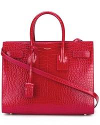 Sac fourre-tout en cuir rouge Saint Laurent