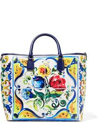 Sac fourre-tout en cuir texturé bleu clair Dolce & Gabbana