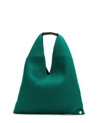 Sac fourre-tout en cuir vert MM6 MAISON MARGIELA