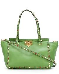 Sac fourre-tout en cuir vert Valentino Garavani