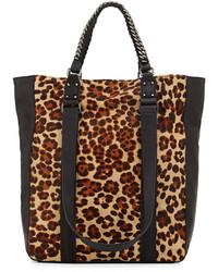 Sac fourre-tout en daim imprimé léopard marron clair