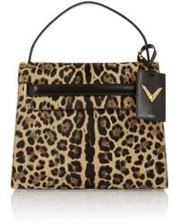 Sac fourre-tout en daim imprimé léopard marron clair Valentino