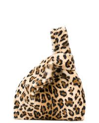 Sac fourre-tout en daim imprimé léopard marron Simonetta Ravizza