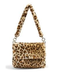 Sac fourre-tout en fourrure imprimé léopard marron clair
