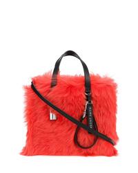Sac fourre-tout en fourrure rouge Marc Jacobs