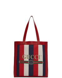 Sac fourre-tout en toile à rayures verticales blanc et rouge et bleu marine Gucci