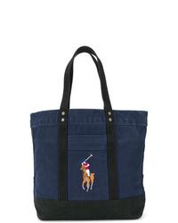 Sac fourre-tout en toile bleu marine Polo Ralph Lauren