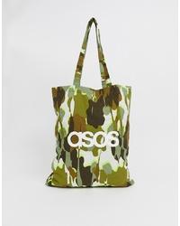 Sac fourre-tout en toile camouflage olive ASOS DESIGN