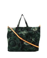 Sac fourre-tout en toile camouflage vert foncé Alexander McQueen