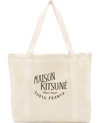 Sac fourre-tout en toile imprimé beige Kitsune